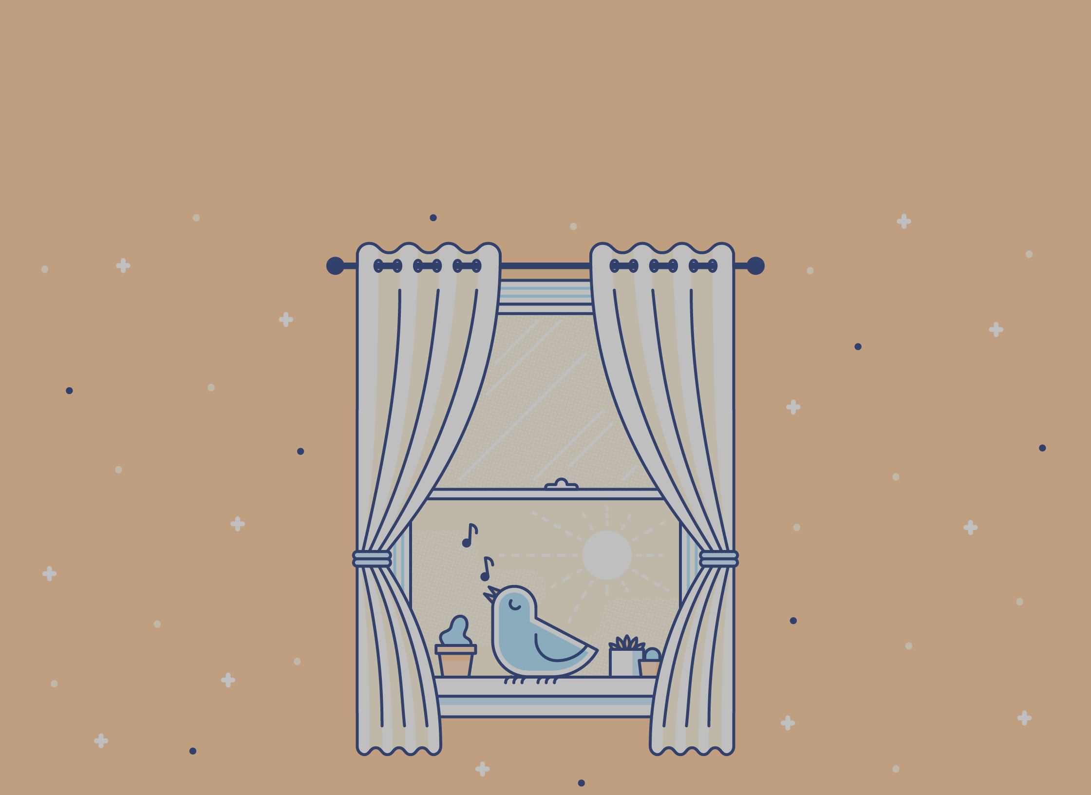 illustration of a bird singing out of a window