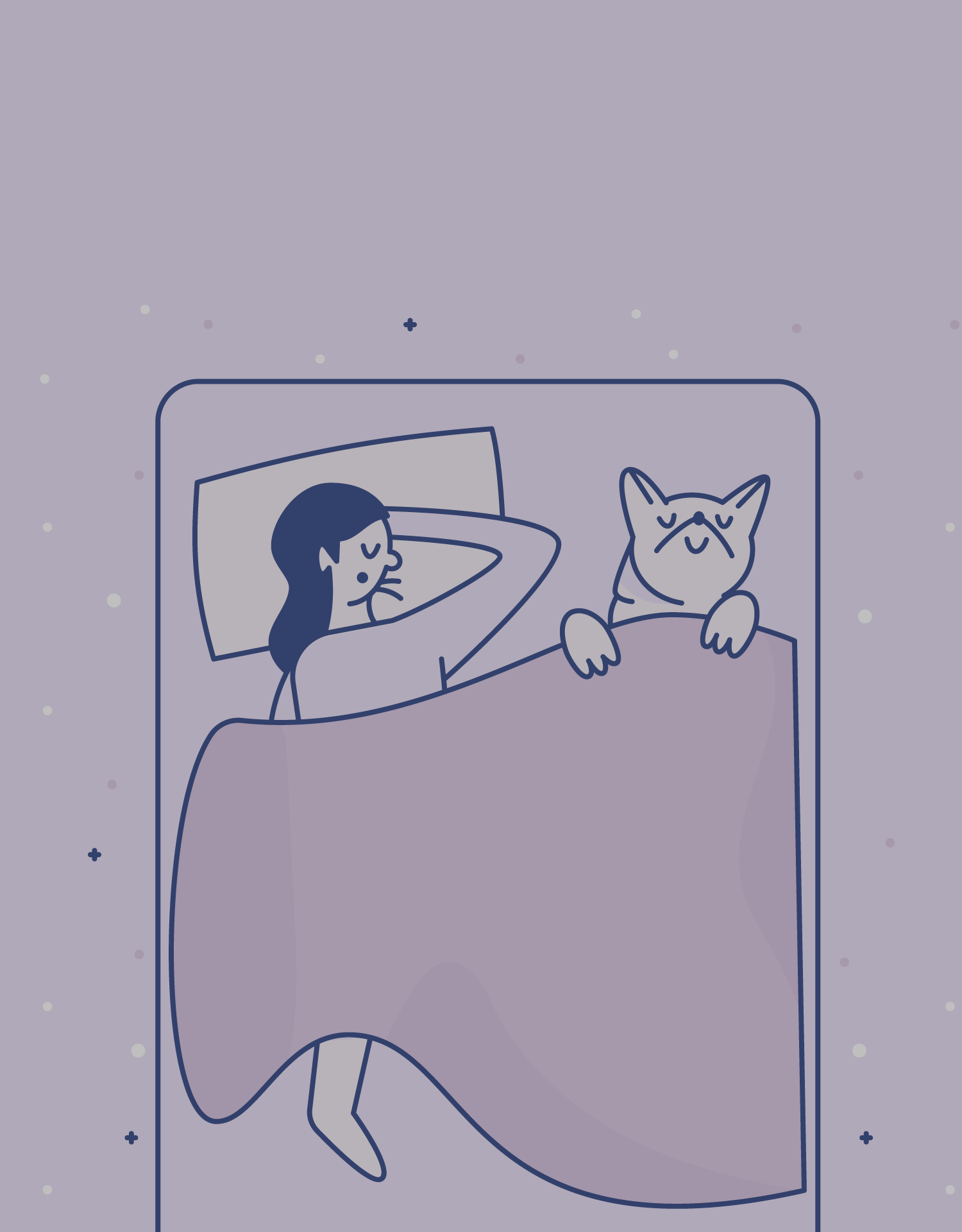 illustration of a woman sleeping with her dog