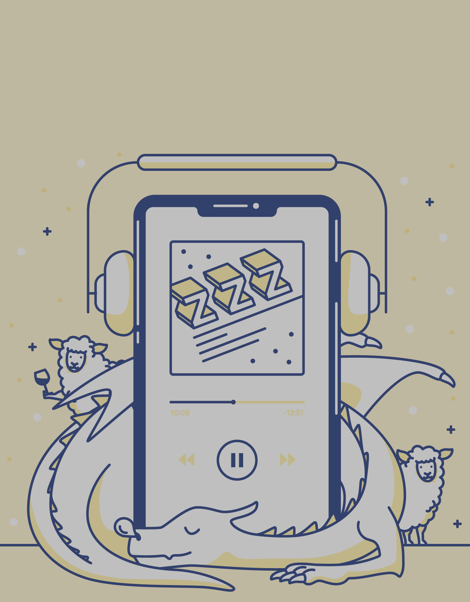 illustration of an iphone playing a podcast