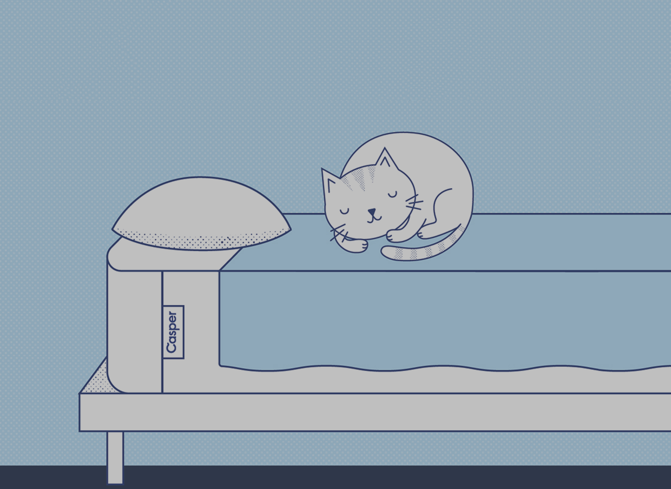 illustration of a cat sleeping on a bed