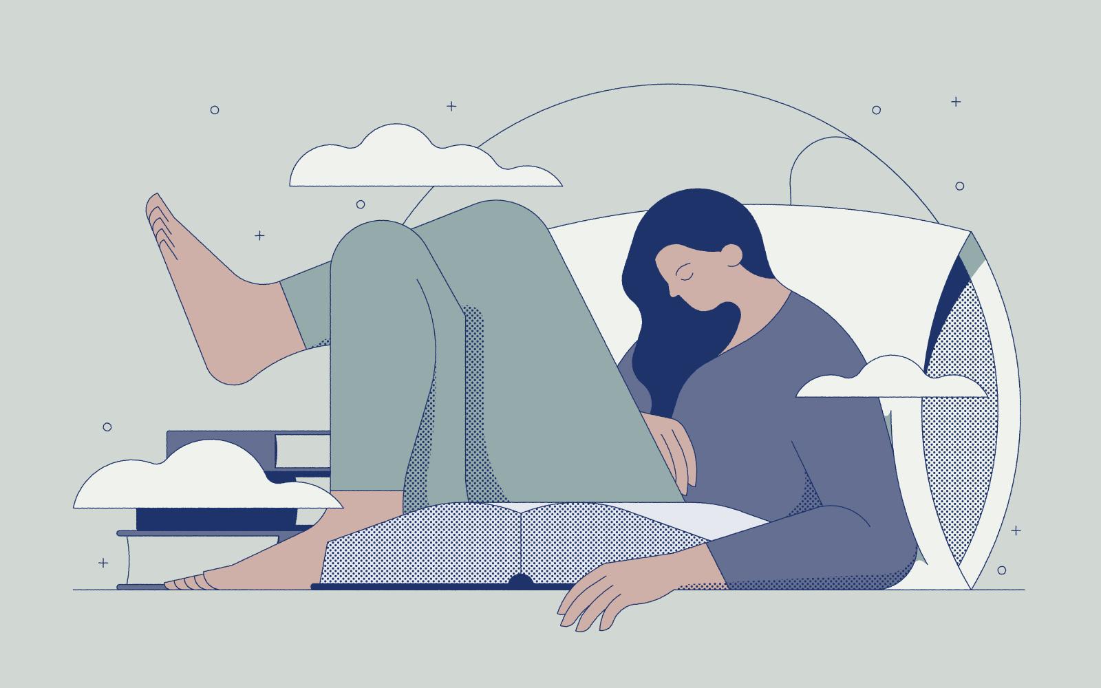 Illustration of woman reading on pillow