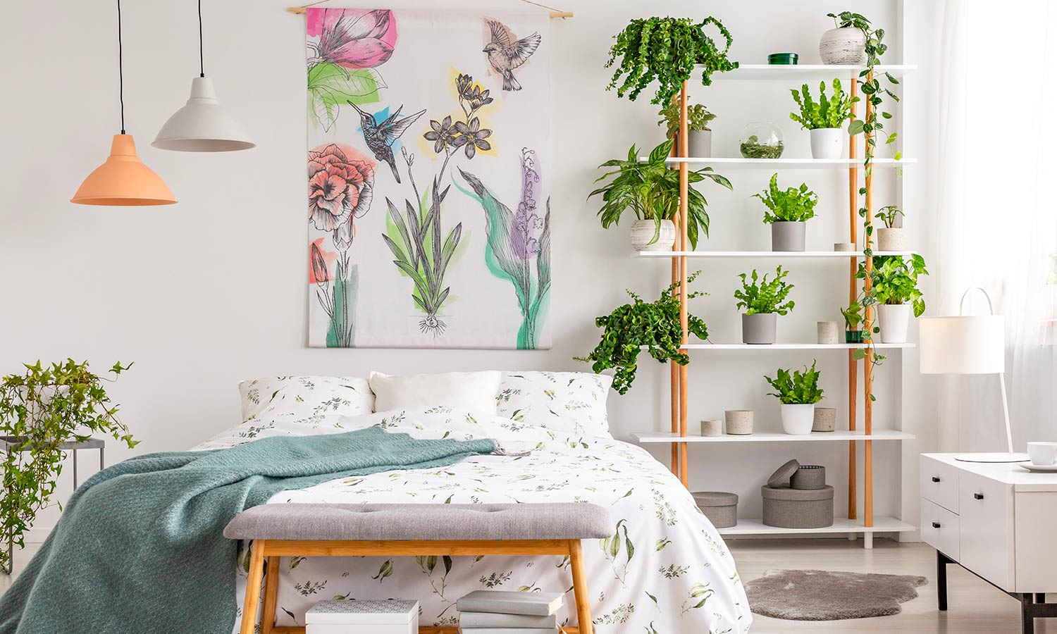 guest bedroom with plants