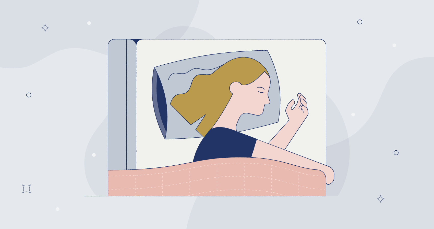 illustration of a woman sleeping with a weighted blanket