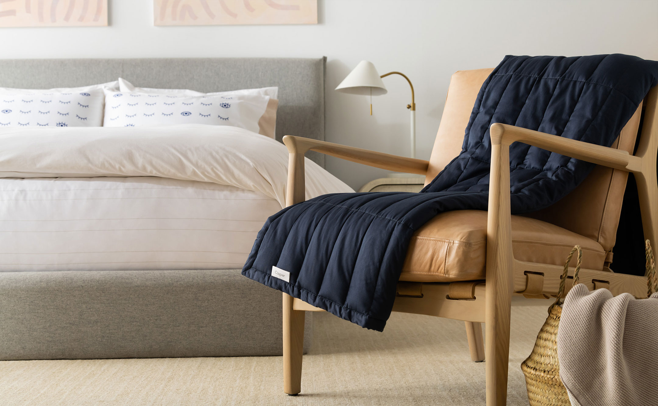 weighted blanket on a chair