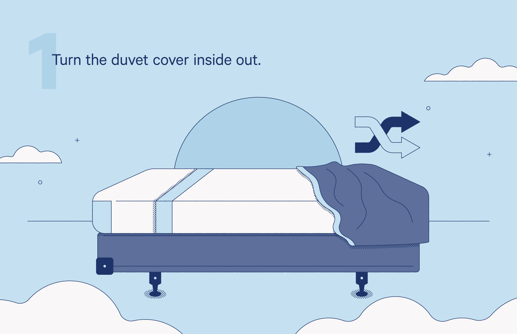 turn the duvet cover inside out