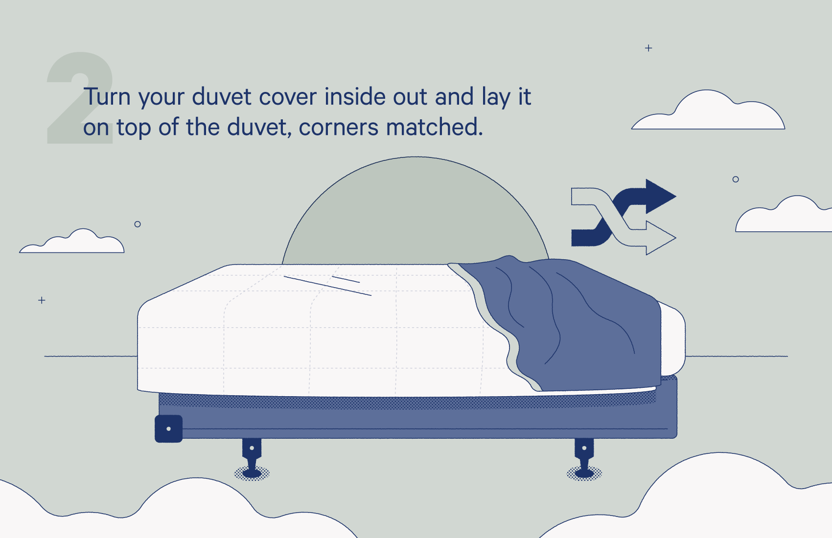 turn your duvet cover inside out and lay it on top of the duvet, corners matched.