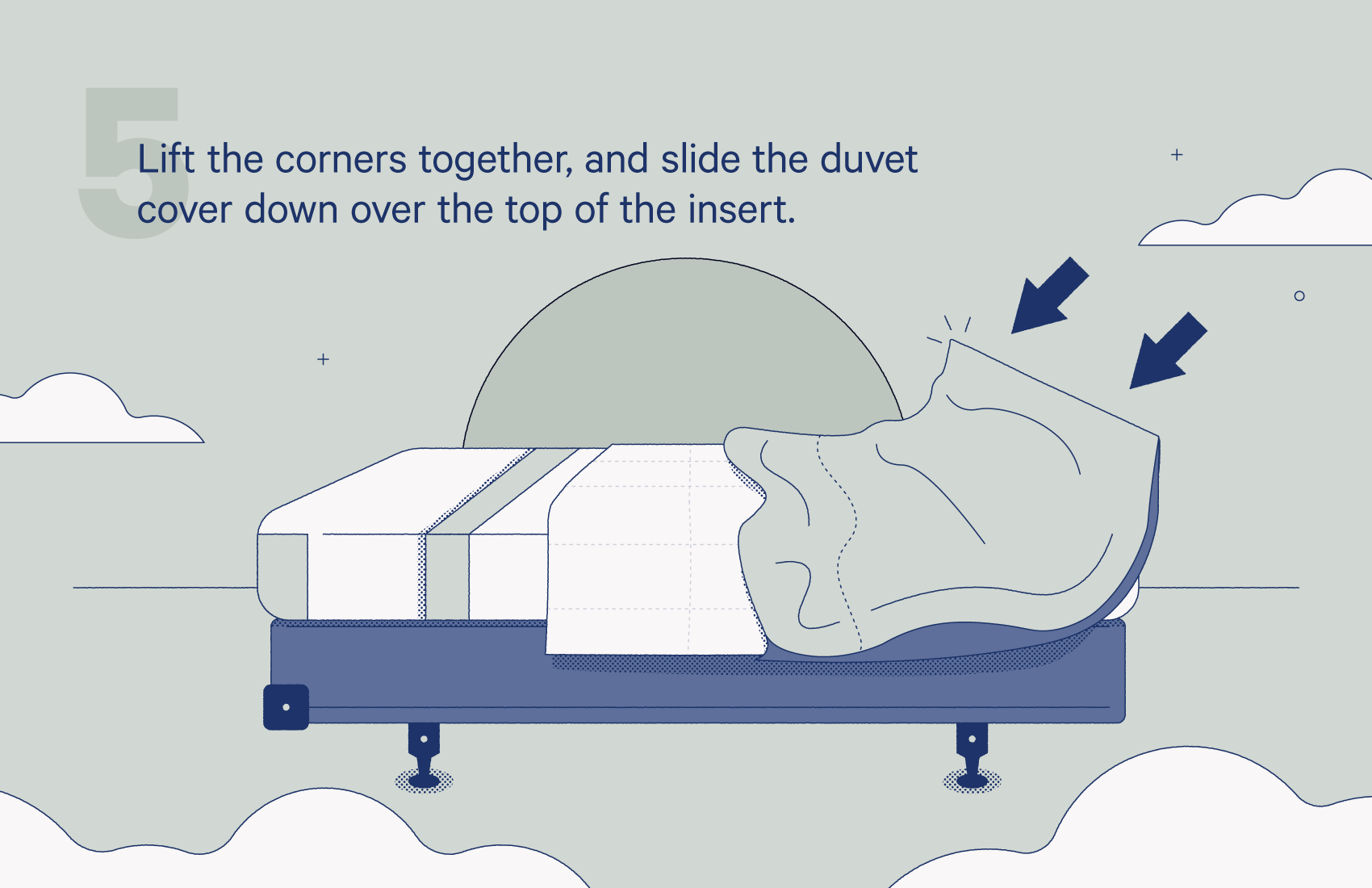 lift the corners together, and slide the duvet cover down over the top of the insert.