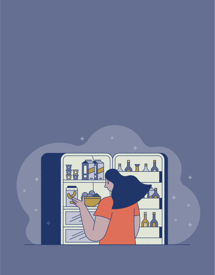 Illustration of woman looking in fridge