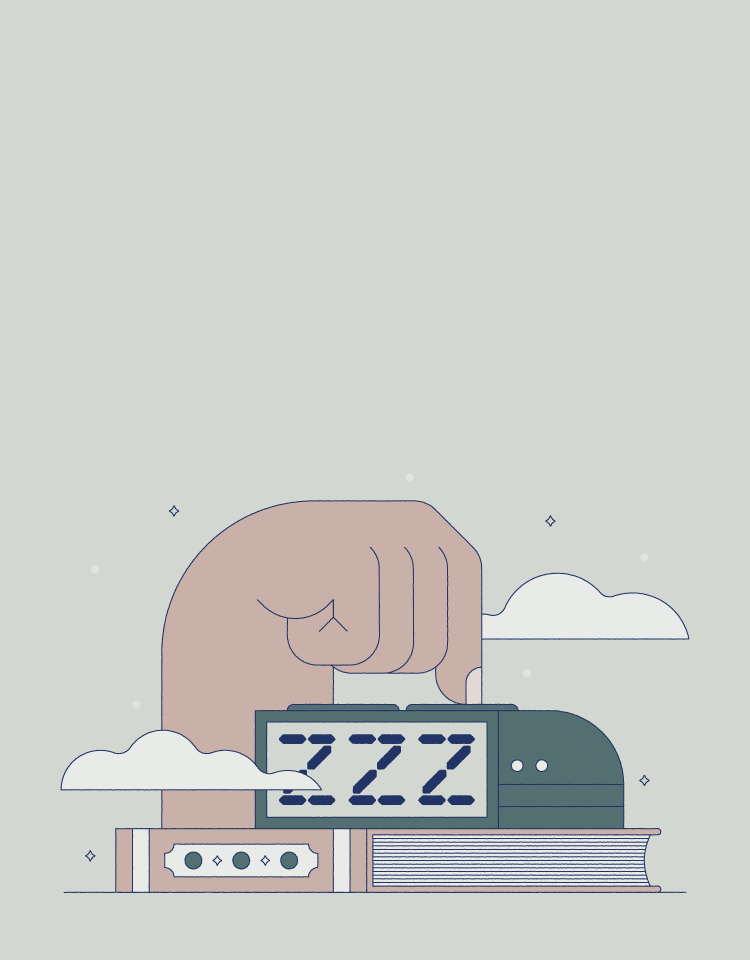 illustration of hand pressing alarm clock