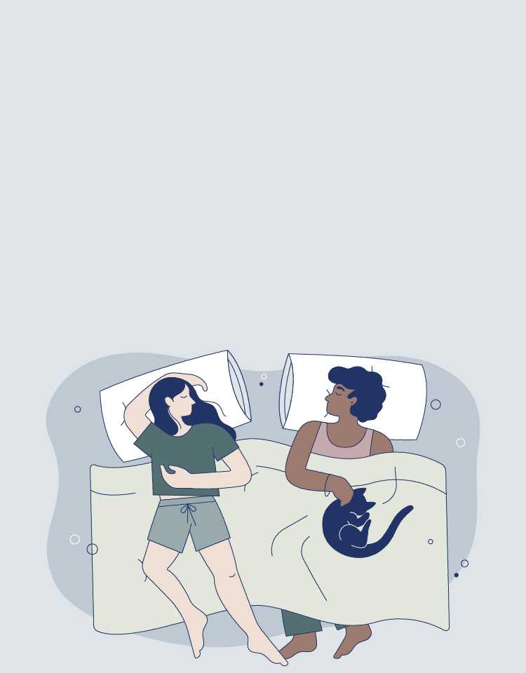 Illustration of man and woman sleeping with blanket and pillows