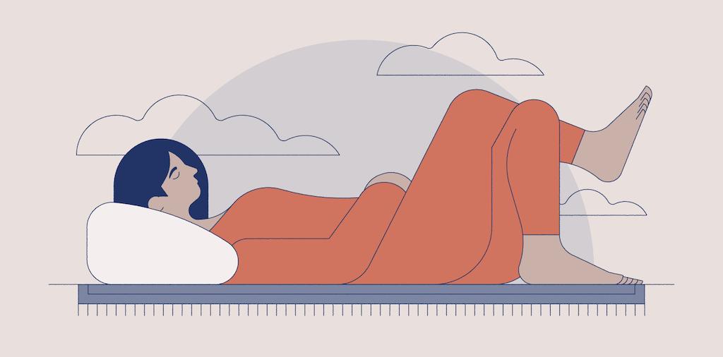 Illustration of woman sleeping on the floor
