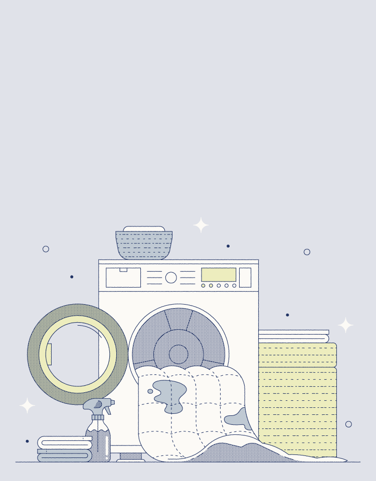dirty duvet and washer illustration