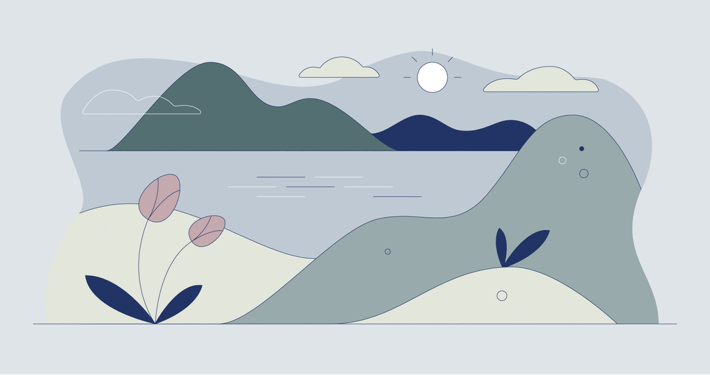 Illustration of a lake with rolling hills