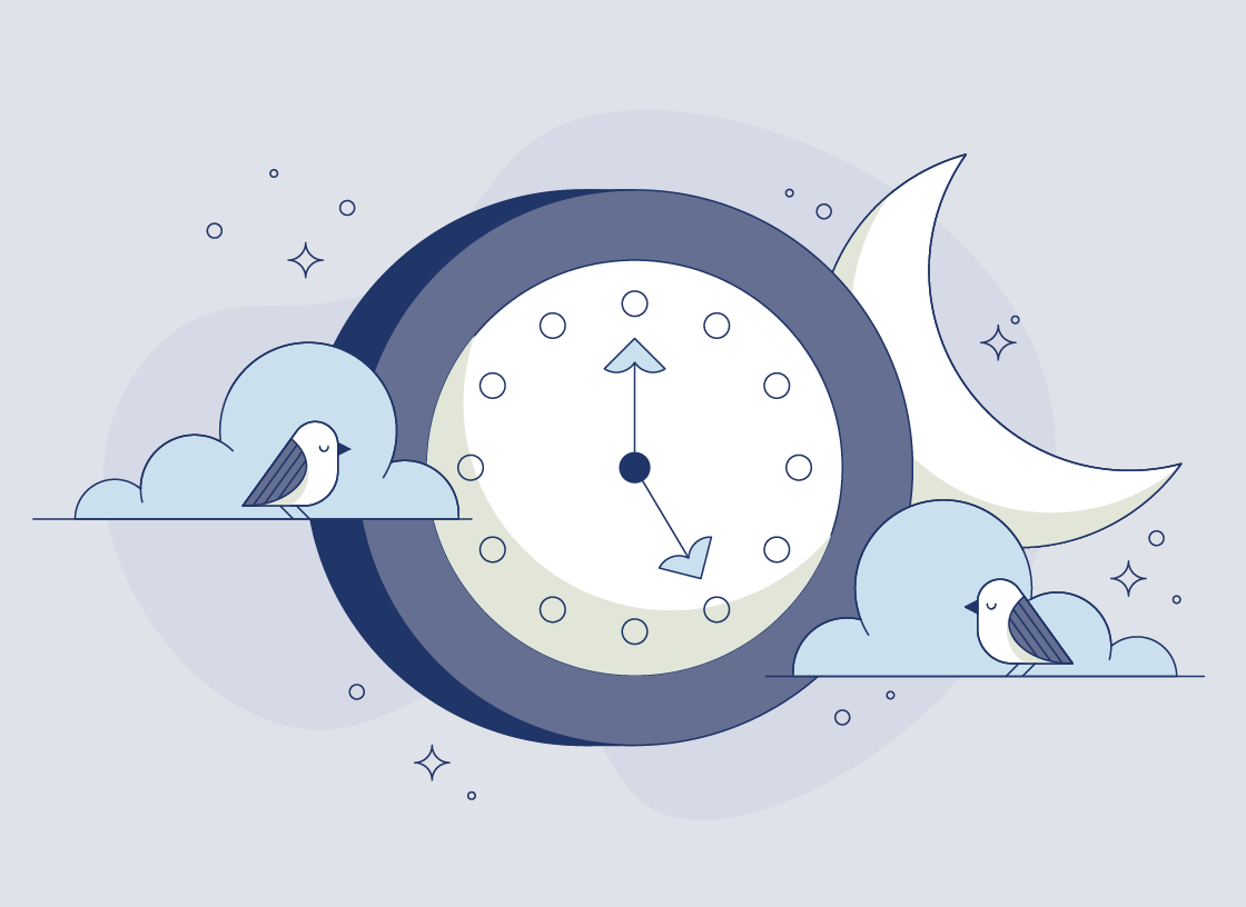 Illustration of a clock on a purple background