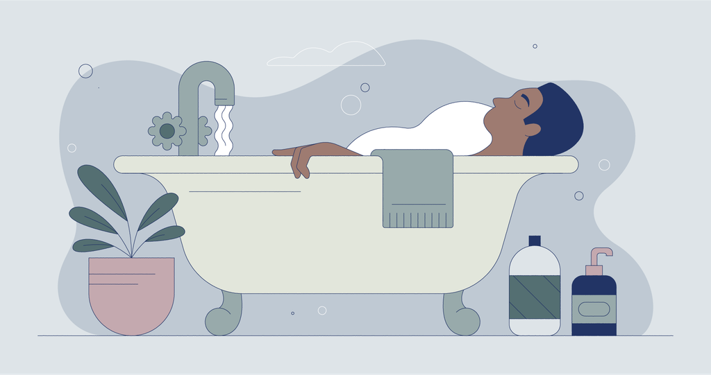Illustration of man taking a bath with soap and plants in the foreground