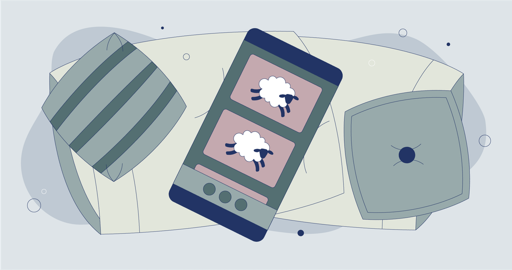 Illustration of phone on top of pillows