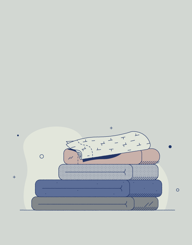 stacked bed sheets illustrated