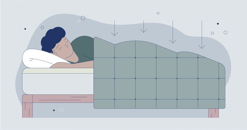 Illustration of a man sleeping with a weighted blanket