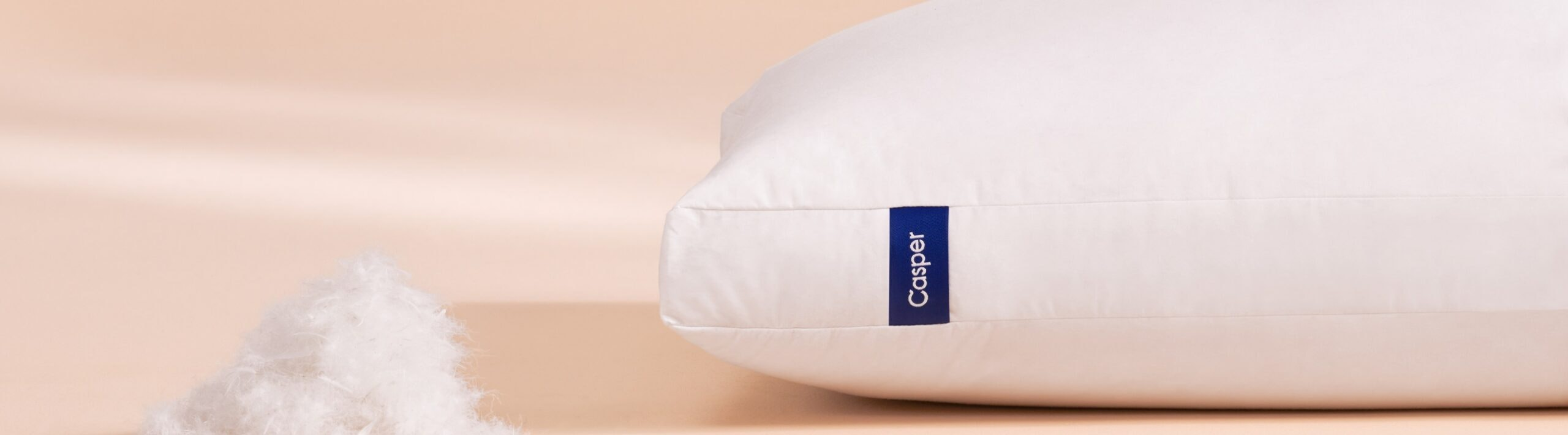 Casper Down Pillow and a sample of filling next to it