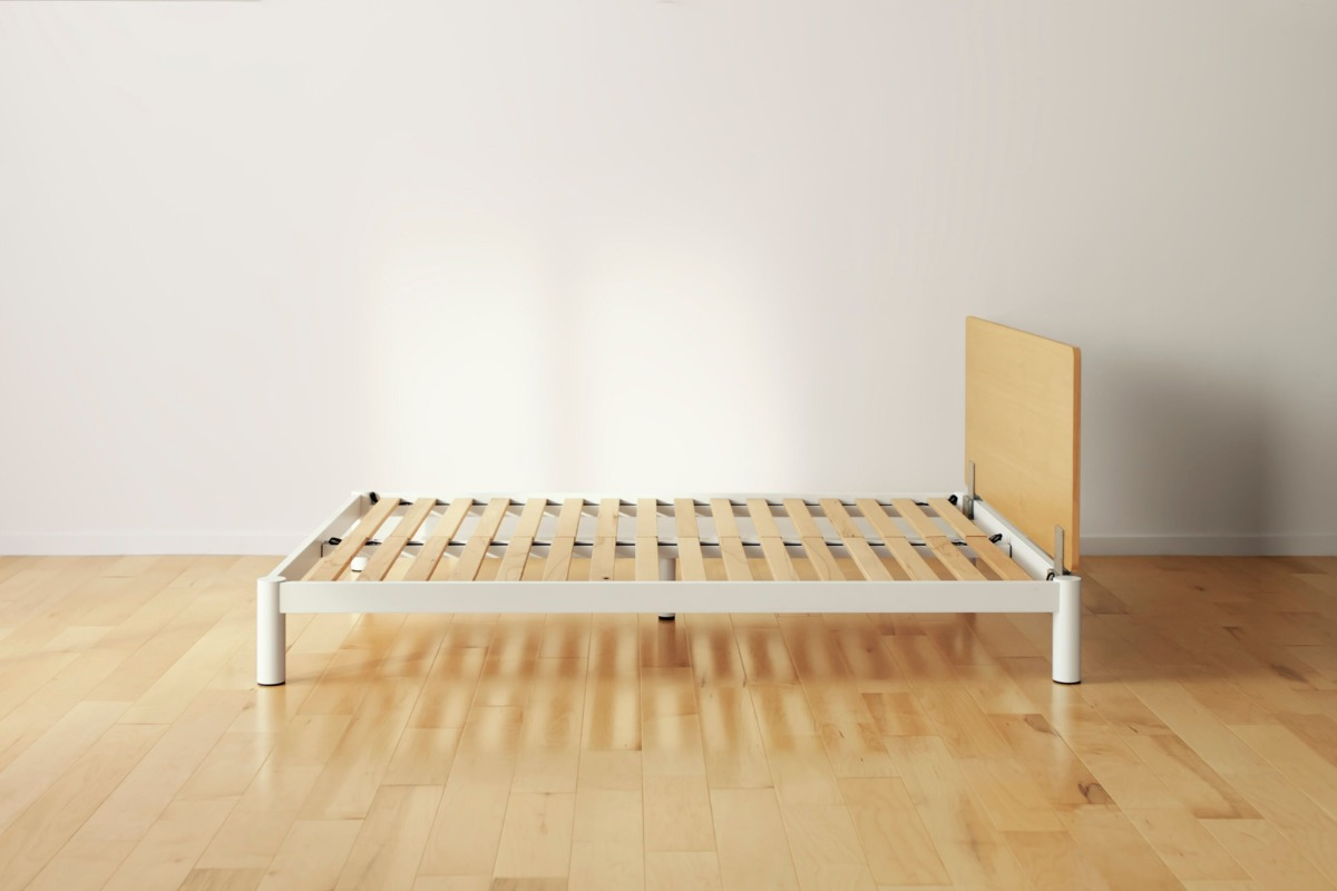 Wooden bed construction exposed