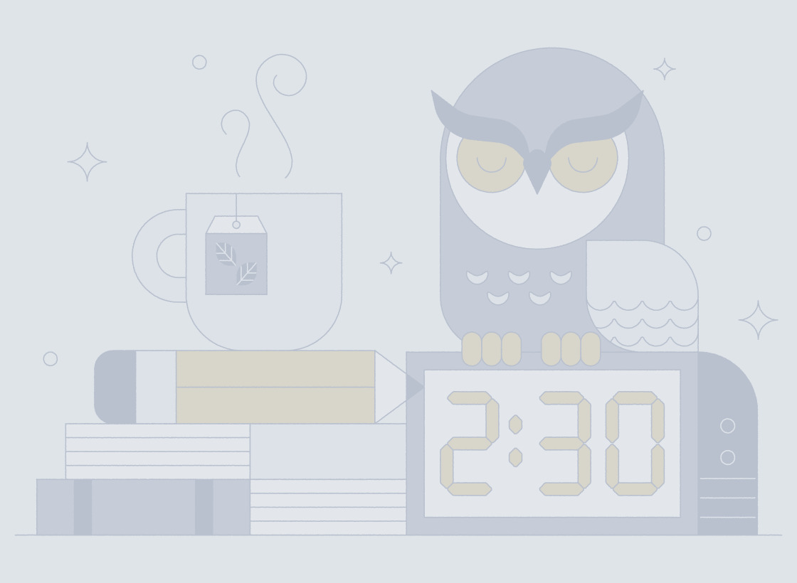 illustrated owl, clock, and coffee