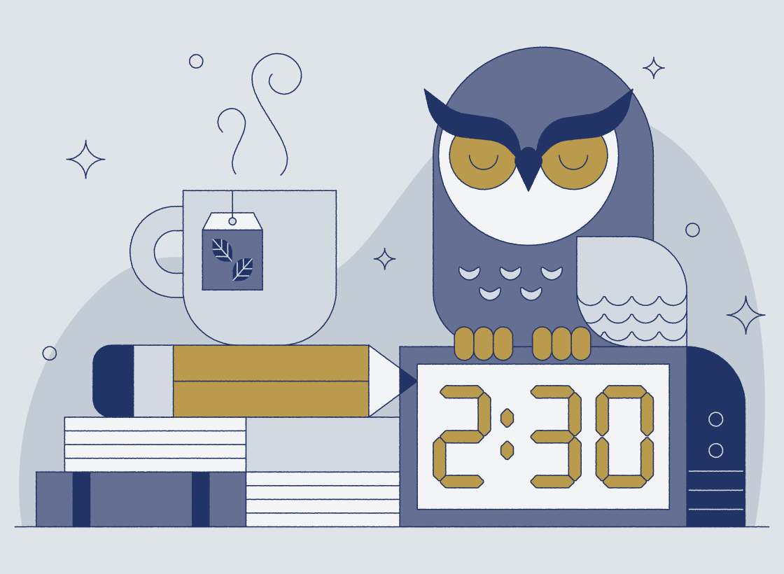 illustrated clock, owl, and coffee